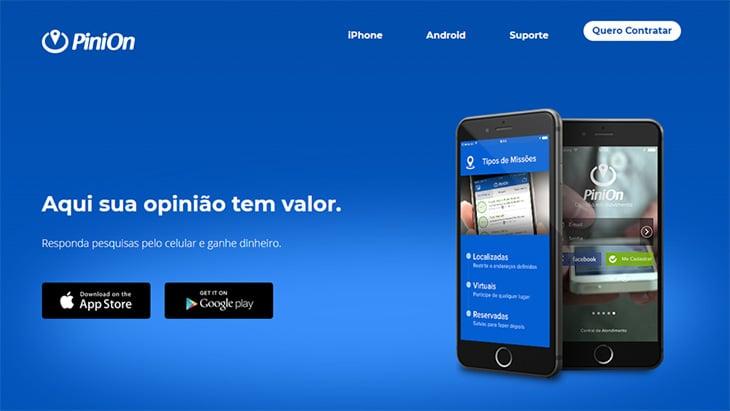 página inicial do site pinion